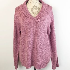 Karen Scott Shawl Collar Sweater Pink/Rose Large